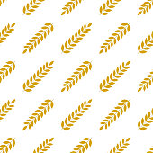 wheat seamless pattern, stylized elegant linear ears golden on white color, backgrond with wheat, grain harvest ears bread autumn