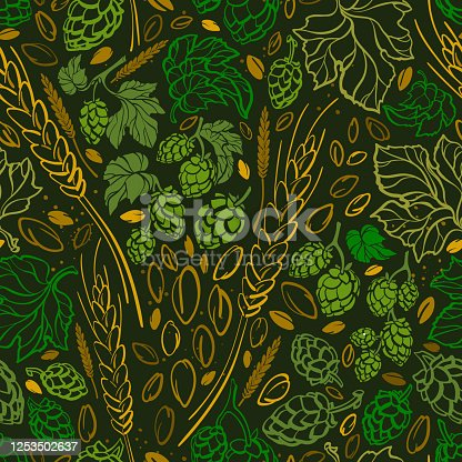 Wheat seed, hop. Vector doodle seamless pattern