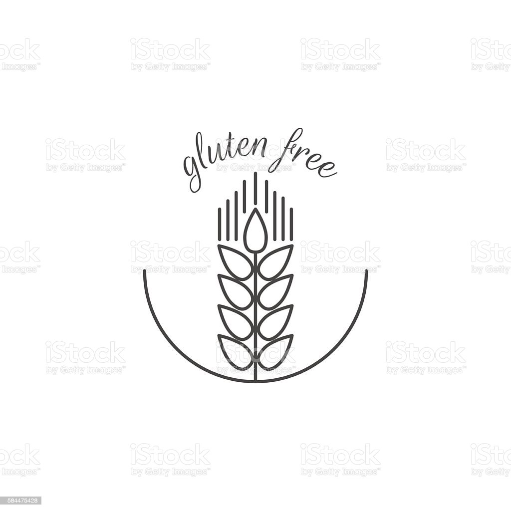 Wheat sprout. Gluten free. Vector on white background. vector art illustration