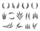 Abstract wheat ear, oat, rye grain spikes and wreaths hand drawn set icons