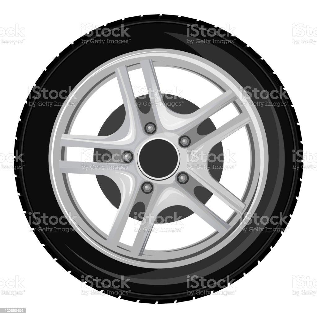 Wheel and tyre vector art illustration