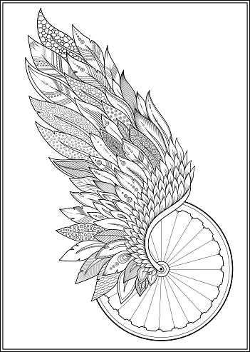 Wheel and wing isolated monochrome bikers club illustration.