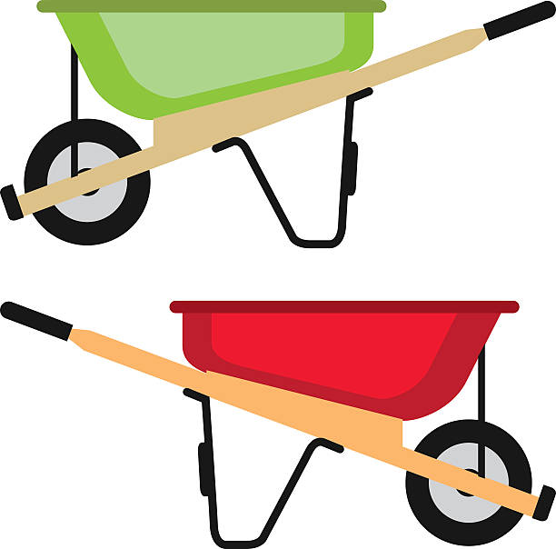 stockillustraties, clipart, cartoons en iconen met wheel barrow vector - kruiwagen