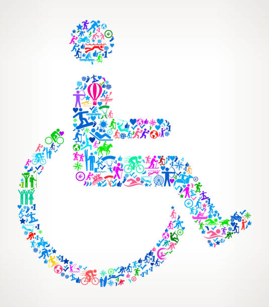 wheel chair user active lifestyle vector icon pattern - wheelchair sports stock illustrations, clip art, cartoons, & icons