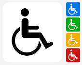 Wheel Chair User Icon. This 100% royalty free vector illustration features the main icon pictured in black inside a white square. The alternative color options in blue, green, yellow and red are on the right of the icon and are arranged in a vertical column.