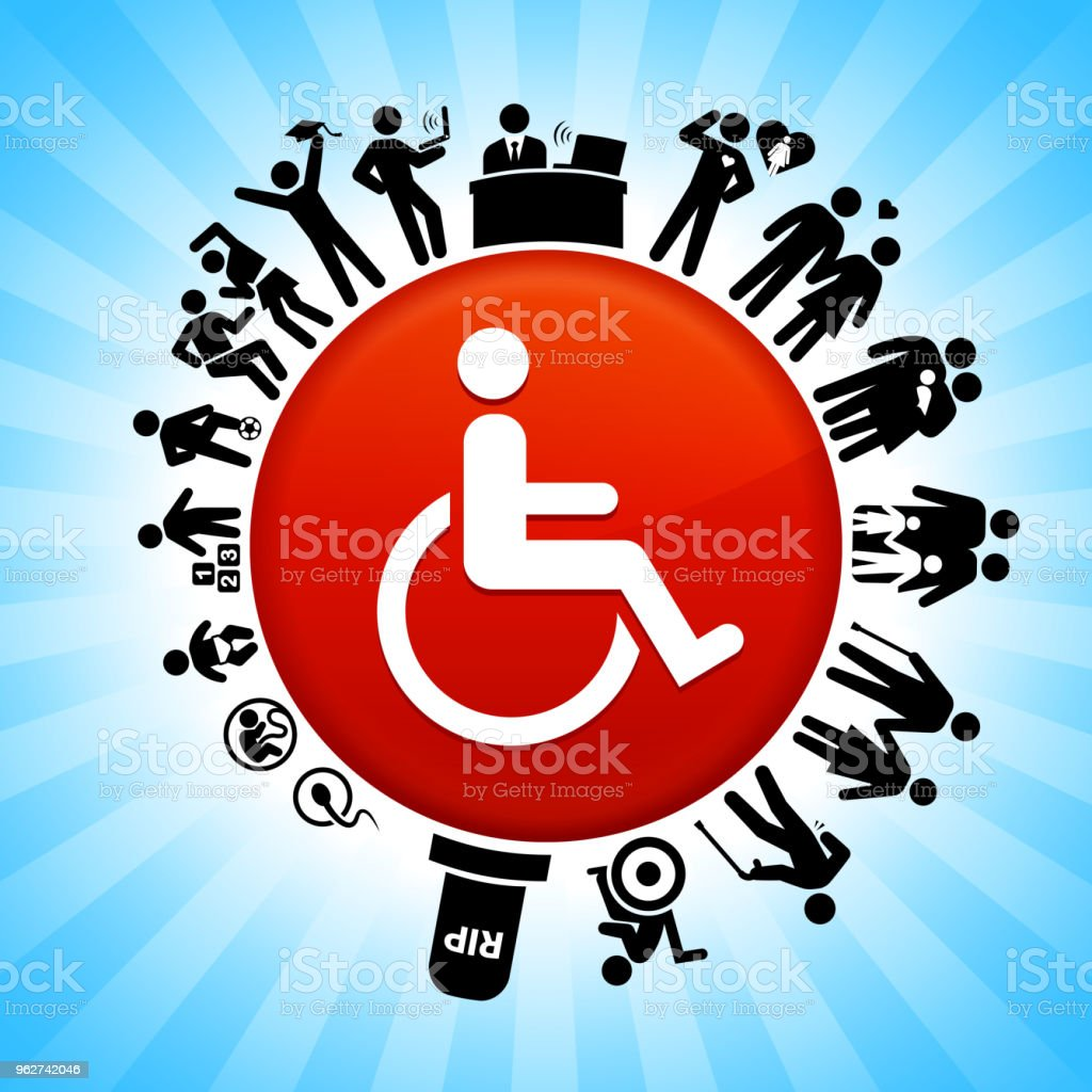 Wheel Chair User Lifecycle Stages of Life Background - arte vettoriale royalty-free di Adolescente