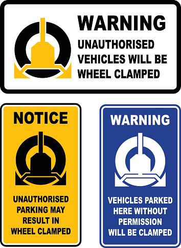 Wheel Clamp Warning Sign Set
