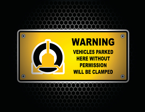 Wheel Clamp Warning Sign