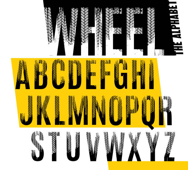 Wheel. Grunge tire letters Wheel. Grunge tire letters. Off road lettering in a black color isolated on white background. Editable vector illustration. Grunge typography useful for automotive poster, print, leaflet design. auto racing stock illustrations