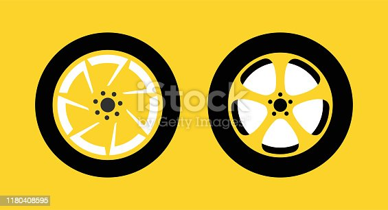 Wheel Icon Set isolated on yellow background for Taxi, Racing contest or Auto Repair Shop - Vector illustration.