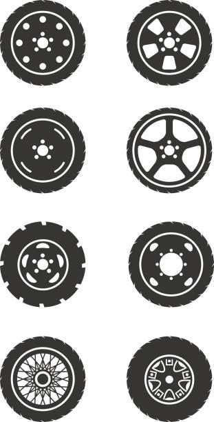 illustrations, cliparts, dessins animés et icônes de roue ensemble de icône - alliage