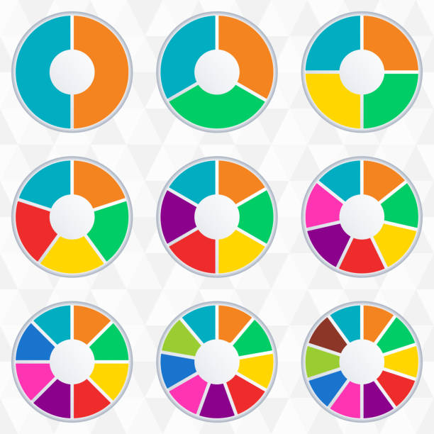 wheel infographics template. pie chart set with 2,3,4,5,6,7,8,9 and 10 parts or sections. circle diagram, graph, business presentation and chart. vector illustration. - pie chart stock illustrations, clip art, cartoons, & icons