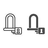 Wheel lock line and solid icon, bicycle accessories concept, padlock for wheels sign on white background, Bike lock icon in outline style for mobile concept and web design. Vector graphics.