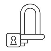 Wheel lock thin line icon, bicycle accessories concept, padlock for wheels sign on white background, Bike lock icon in outline style for mobile concept and web design. Vector graphics.