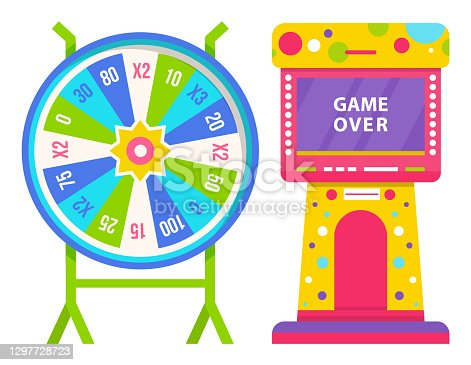 istock Wheel of Fortune and Slot Machine with Game Over 1297728723