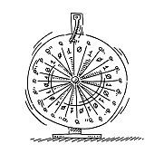 Hand-drawn vector drawing of a Wheel Of Fortune with Binary Numbers 0 and 1. Black-and-White sketch on a transparent background (.eps-file). Included files are EPS (v10) and Hi-Res JPG.