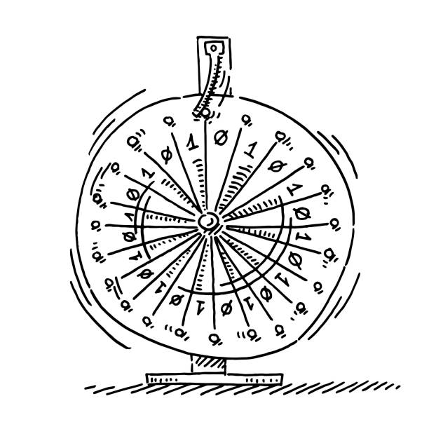 Wheel Of Fortune Binary Data Drawing Hand-drawn vector drawing of a Wheel Of Fortune with Binary Numbers 0 and 1. Black-and-White sketch on a transparent background (.eps-file). Included files are EPS (v10) and Hi-Res JPG. cartoon character figure stock illustrations