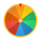 Wheel of fortune for the prize draw on a white background, icon