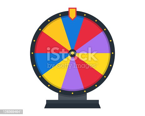 istock Wheel of fortune. Illustration for gambling, lottery, betting concept. Flat style. 1283694641