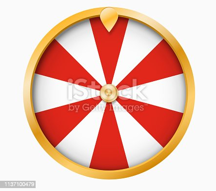 Wheel Of Fortune lottery luck illustration . With red and white sections .