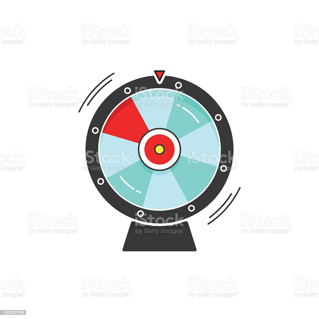 Wheel of fortune spinning vector icon illustration isolated on white vector art illustration
