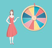 Retro style illustration of a colourful wheel with blank spaces for different words or numbers - can be used for business concept.