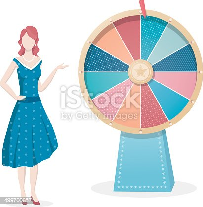 Wheel of fortune with female presenter. This is an editable EPS 10 vector illustration with CMYK color space.