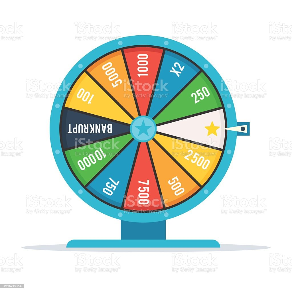 Wheel of fortune with numbers vector art illustration