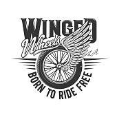 Wheel on wing, motorcycle racers or motor races, vector icon or retro t-shirt print. Winged wheel of car auto racing and speedway sport, custom motorcycle garage and biker club grunge sign