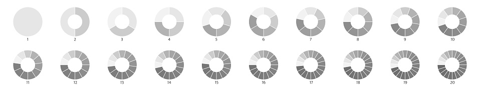 Wheel round diagram part set. Segment slice sign. Circle section graph line art. Pie chart icon. 2,3,4,5,6 segment infographic. Five phase, six circular cycle. Geometric element. Vector illustration