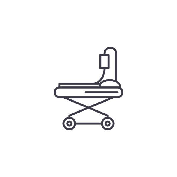 Wheel stretcher linear icon concept. Wheel stretcher line vector sign, symbol, illustration. Wheel stretcher line icon, vector illustration. Wheel stretcher linear concept sign. hospital bed stock illustrations