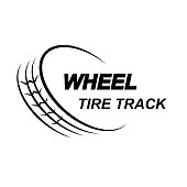 Black car wheel silhouette with sample text isolated on white background