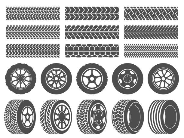 ilustraciones, imágenes clip art, dibujos animados e iconos de stock de llantas de ruedas. pistas de rodadura de neumáticos de coche, iconos de ruedas de carreras de motocicletas y neumáticos sucios pista de ilustración vectorial conjunto - tires