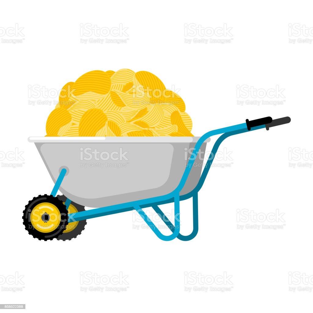 Wheelbarrow and potato chips. Fastfood fried potatoes in garden trolley. Vector Illustration vector art illustration