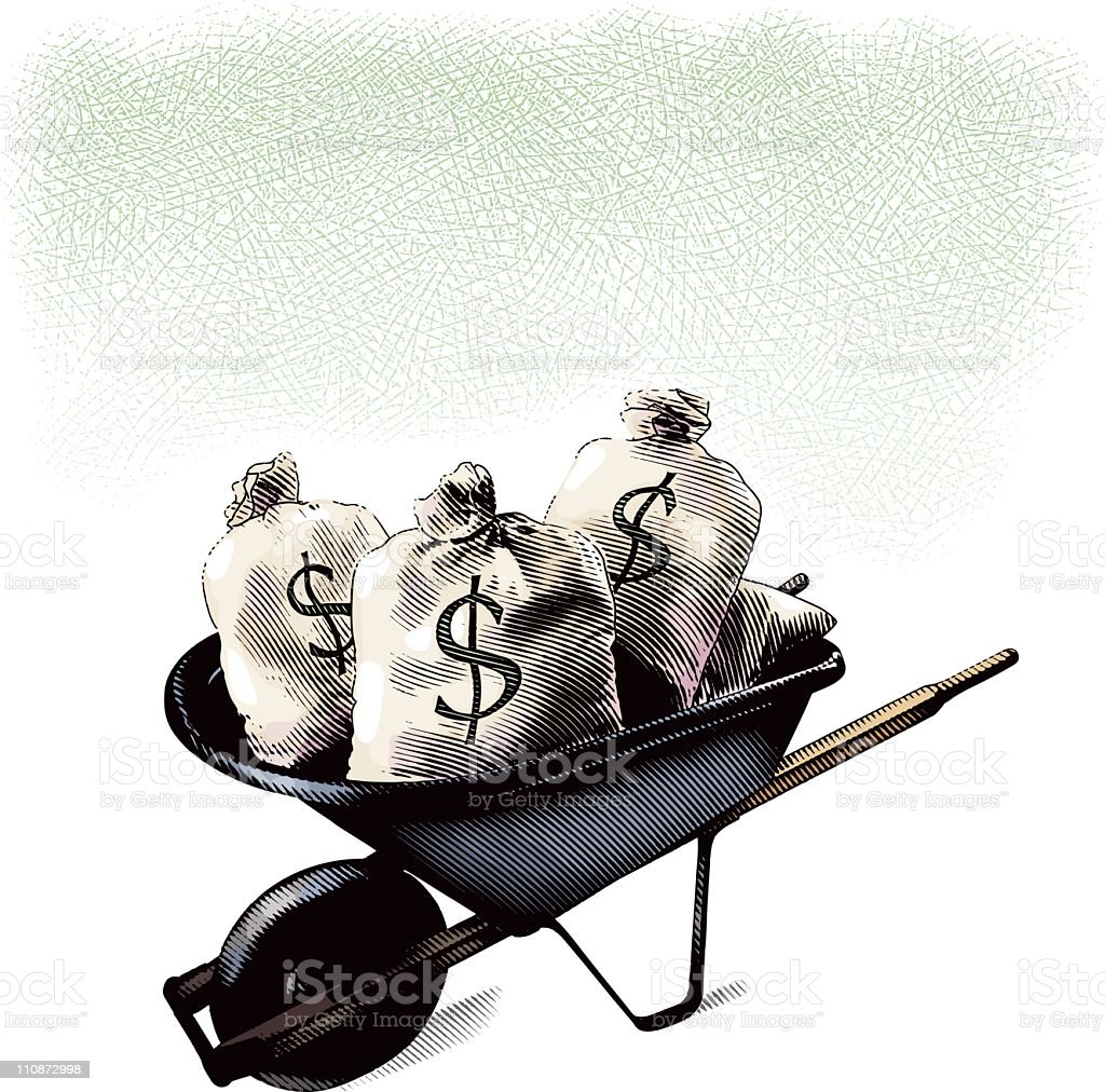 Wheelbarrow Filled With Money Bags royalty-free wheelbarrow filled with money bags stock vector art & more images of abundance