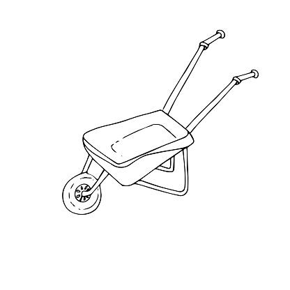Wheelbarrow For Garden Gardening Icon Ink Hand Drawn Monochrome Art Design Elements Stock Vector Illustration For Web For Print For Label For Packing Design Stock Illustration Download Image Now Istock
