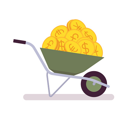 Wheelbarrow full of coins