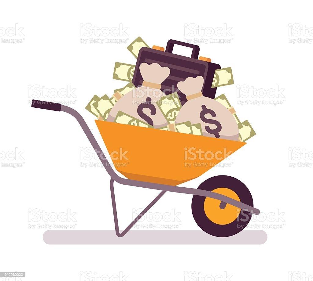 Wheelbarrow full of money vector art illustration