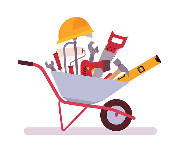 stockillustraties, clipart, cartoons en iconen met wheelbarrow full of tools - kruiwagen