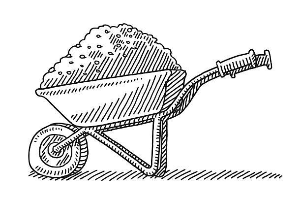 stockillustraties, clipart, cartoons en iconen met wheelbarrow heap soil drawing - kruiwagen met gereedschap