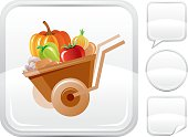 Wheelbarrow vector icon on silver button background with althernative button variations – speaking bubble, round button and sticker. CDR-11, AI -10, JPG.