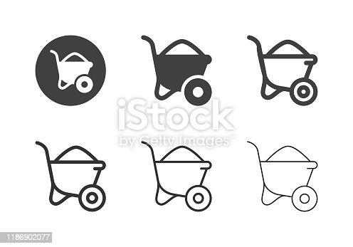 Wheelbarrow Icons Multi Series Vector EPS File.