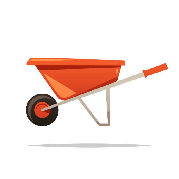 stockillustraties, clipart, cartoons en iconen met kruiwagen vector geïsoleerd illustratie - kruiwagen