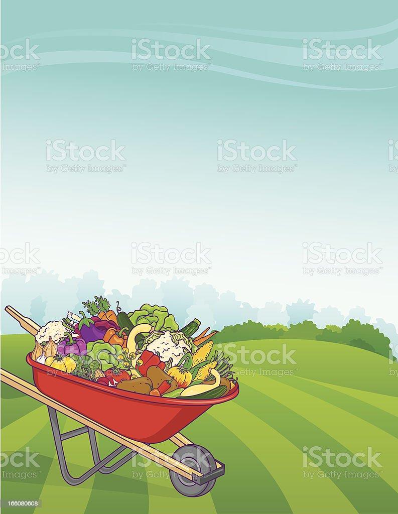 Wheelbarrow Vegetable Background Vertical royalty-free stock vector art