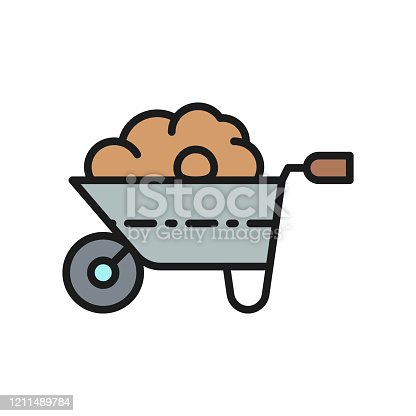Vector wheelbarrow with organic fertilizer, manure, gardening tool, agriculture flat color line icon. Symbol and sign illustration design. Isolated on white background