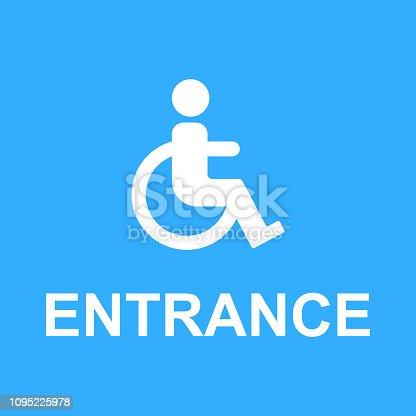 wheelchair access entrance sign vector
