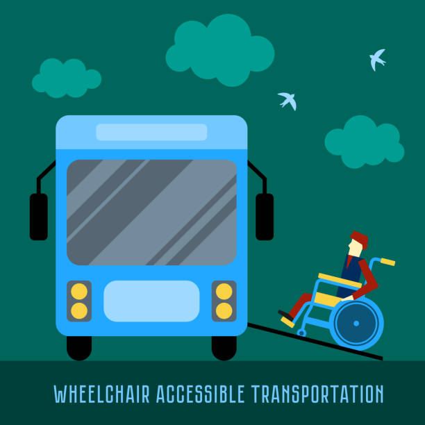 Wheelchair accessible transportation. Paratransit bus picking up passenger. Accessible bus. Access ramp for disabled persons in a bus. Flat vector illustration Wheelchair accessible transportation. Paratransit bus picking up passenger. Accessible bus. Access ramp for disabled persons in a bus. Flat vector illustration one senior man only illustrations stock illustrations