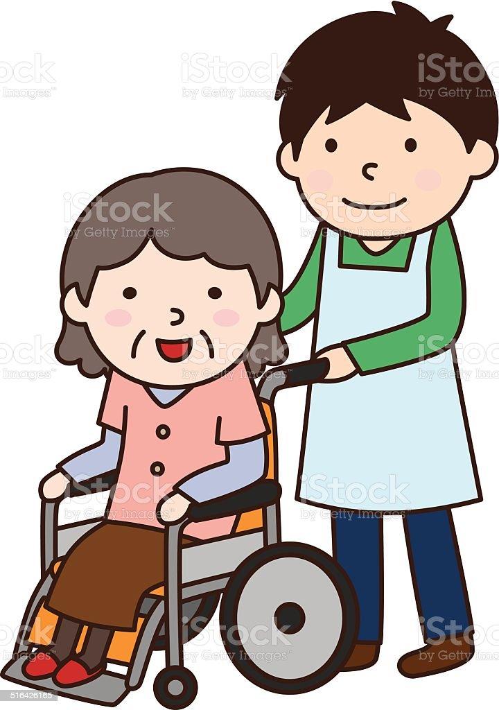 Para silla de ruedas y abuela (車いすとおばあさん) - ilustración de arte vectorial