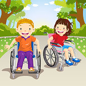 Two wheelchair child cruising around the park.