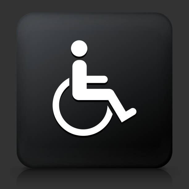 bildbanksillustrationer, clip art samt tecknat material och ikoner med rullstol funktionsnedsättning på black square-knappen - wheel black background